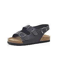 Boys black double strap flat bed sandals