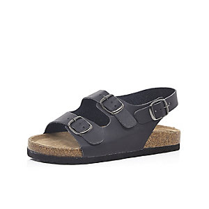 Boys black double strap flat bed sandals