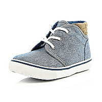 Boys blue denim mid top boots