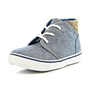 Boys blue denim mid top boots