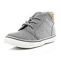 Boys grey denim mid top boots