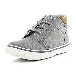 Boys grey denim mid top boots