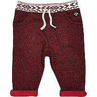 Mini boys dark red jogger bottoms
