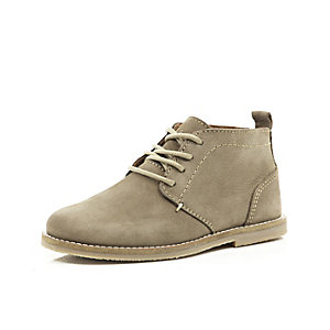Boys grey leather desert boots