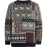 Boys grey reindeer Christmas jumper