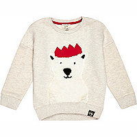 Mini boys stone polar bear sweatshirt