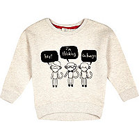 Mini boys ecru monkey print sweatshirt