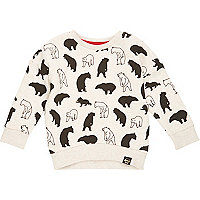Mini boys stone polar bear print sweatshirt