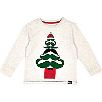 Mini boys ecru christmas tree t-shirt