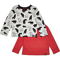 Mini boys polar bear print top two pack