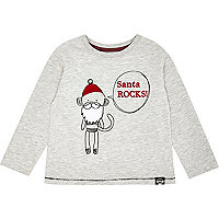 Mini boys grey Santa rocks t-shirt
