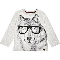 Mini boys printed dog face t-shirt