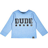 Mini boys blue dude print  t-shirt