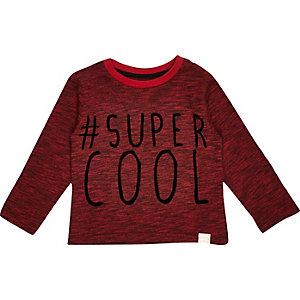 Mini boys red Super cool t-shirt