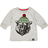 Mini boys grey Christmas polar bear t-shirt