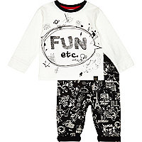 Mini boys white tee and doodle joggers set