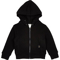 Mini boys black jacquard quilted hoody