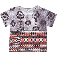 Mini boys grey aztec print t-shirt