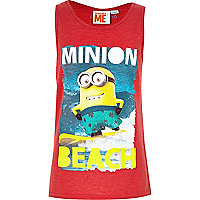 Boys minion print red vest.