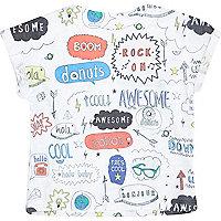 Mini boys white doodle print t-shirt