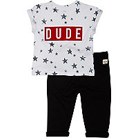 Mini boys white dude t-shirt and joggers set
