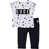 Mini boys navy dude t-shirt and joggers set