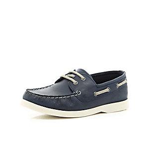 Boys navy boat shoe