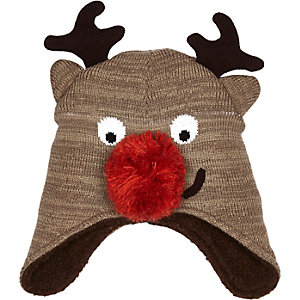 Boys brown christmas reindeer hat