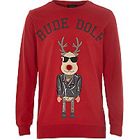 Boys red Rude-Dolf print sweatshirt