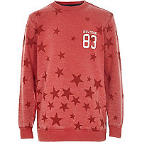 Boys red star print sweatshirt