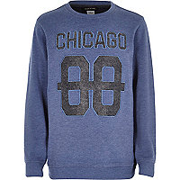 Boys blue burnout Chicago aplique sweatshirt.