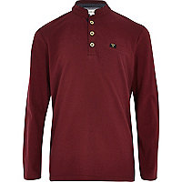 Boys red americana grandad polo