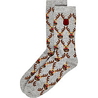 Boys grey christmas reindeer sock