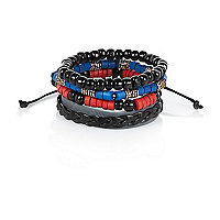 Boys blue and red charm bracelet