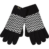 Boys black and white zig zag gloves