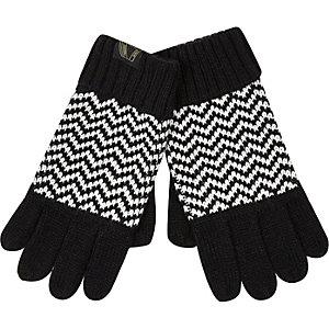 Boys black and white zig zag gloves