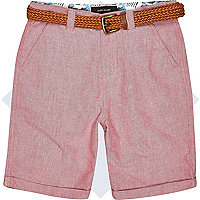 Boys red belted shorts