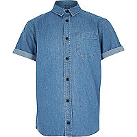 Boys blue denim embroidered shirt