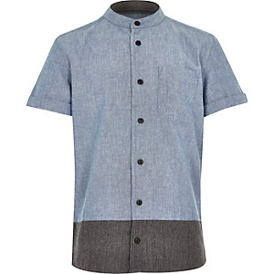 Boys blue colour block grandad shirt