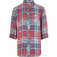 Boys red embroidered check shirt