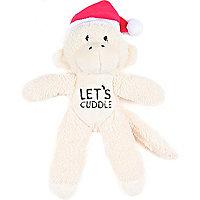 Mini cream lets cuddle christmas monkey