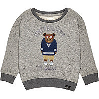 Mini boys grey bear sweatshirt