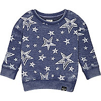 Mini boys blue burnout wash star sweatshirt