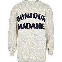 Boys ecru bonjour madame sweatshirt