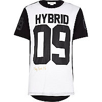 Boys white hybrid sports t-shirt