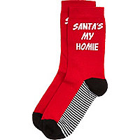Boys red Santa is my homie socks