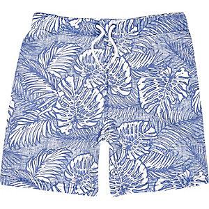 Boys blue hawaiian print swim shorts