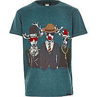 Boys green Christmas reindeer t-shirt