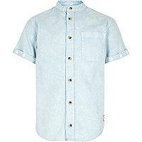 Boys blue acid wash collarless shirt