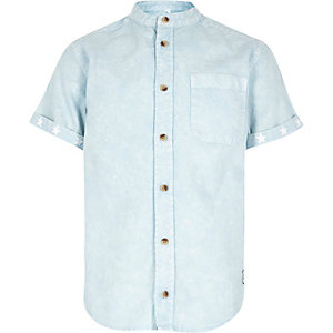 Boys blue acid wash collarless shirt